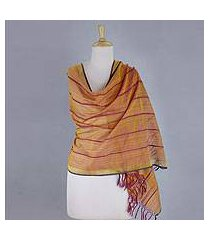 cotton and silk shawl, 'maheshwari glow' (india)