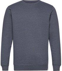 6197729, sweat - morgan crew organi sweat-shirt tröja blå solid