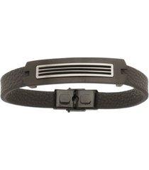 bracelete de aço inox black tudo joias com 13mm de largura