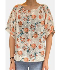 camicetta vintage da donna a maniche corte ricamata con stampa floreale