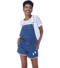 macaquinho jeans com alça de cadarço e barra dobrada feminino - feminino