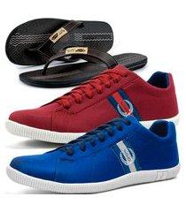 kit 2 pares de sapatênis casual dhl masculino azul e vermelho + chinelo conforto