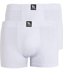 kit 2pçs cuecas boxer microfibra linha noite 607 (branco) - kanui