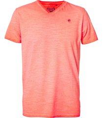 petrol industries m-1010-tsv604 t-shirt v-neck 3099 fiery coral -