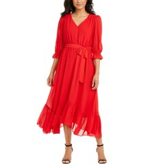 ny collection petite button-front chiffon dress