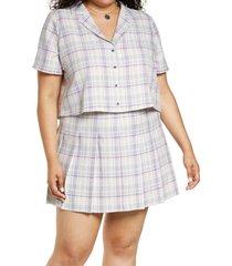 plus size women's bp. plaid crop button-up shirt, size 3x - ivory