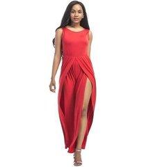 mono elegante para mujer de verano con cintura alta y mameluco con cinturón ropa negra nueva moda-rojo