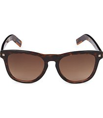 57mm faux tortoiseshell round sunglasses