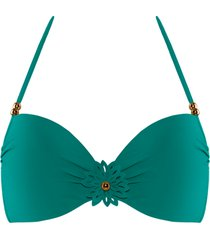 la flor push up bikini top | wired padded green - 32f
