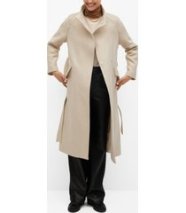 mango women's belted wool coat
