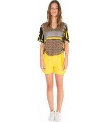 blusa decote v manga curta argola lateral preto m