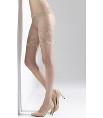 natori feathers silky sheer lace top tights, women's, beige, size m/l natori