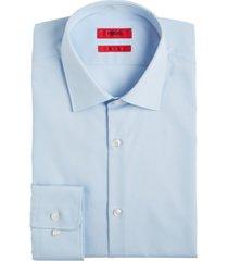 hugo men's slim-fit light blue solid dress shirt