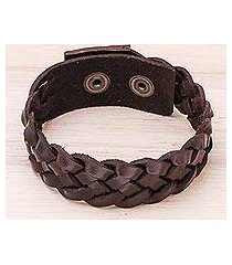 men's leather braided wristband bracelet, 'love weave in espresso' (thailand)