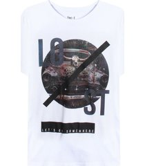 camiseta con screen lost color blanco,talla s