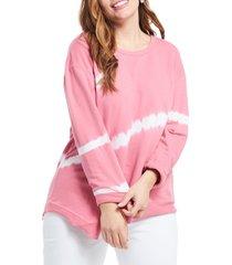 plus size women's nic+zoe in the groove tie dye top, size 2x - pink
