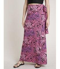 saia feminina triya longa envelope estampada de folhagem roxa
