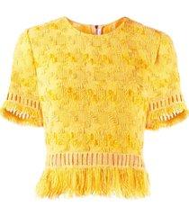 ermanno scervino top cropped com franjas - amarelo