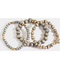 emelia star beaded bracelet set - gray