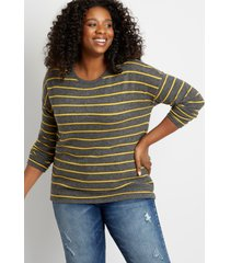 maurices plus size womens gold stripe straight hem pullover