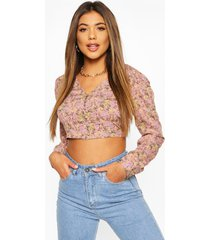 floral button through plunge blouse, pink