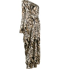 alexandre vauthier leopard print evening dress - brown
