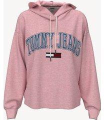 tommy hilfiger women's organic cotton cropped hoodie coral blush - xl