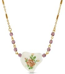 2028 beaded heart with pink floral decal necklace