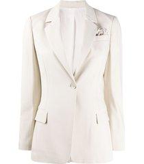 brunello cucinelli silk single-breasted fitted blazer - neutrals
