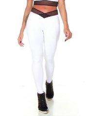 calça legging com elástico no cós dily modas 527 branco