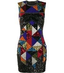 balmain sequin embroidered beaded dress - black