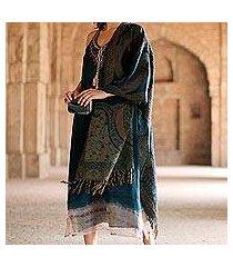 jamawar wool shawl, 'himalayan heirloom in teal' (india)