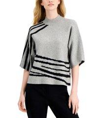 alfani petite printed kimono-sleeve sweater, created for macy's