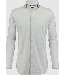 blue industry heren overhemd oscar jersey semi spread boord grijs