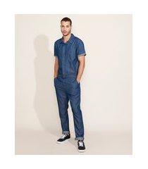 macacão jeans masculino com bolsos manga curta azul escuro
