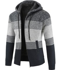 color block zipper hoodie sweater