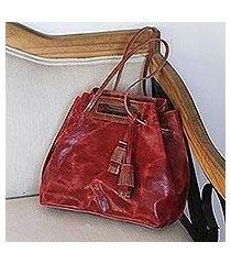 leather handbag, 'meditative beauty in scarlet' (mexico)