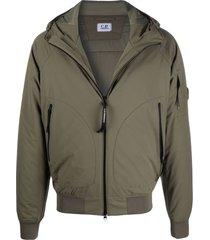 c.p. company green stretch woven construction jacket