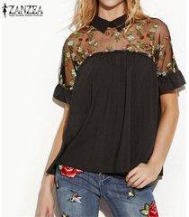 zanzea mujeres de la manera blusas camisas de verano floral bordado tops ver a través de malla remiendo de manga corta blusas -negro