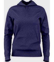 damska bluza z kapturem taliowana (bez nadruku, gładka) - niebieska