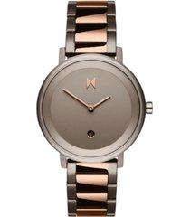 mvmt women's signature ii dusk taupe two-tone steel bracelet watch 34mm