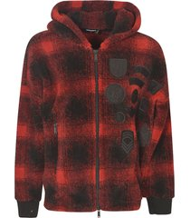 dsquared2 faded check pattern patched zip hoodie