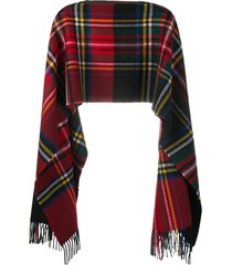 comme des garçons shirt check wool poncho scarf - red