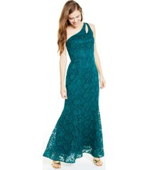 bcx juniors' one-shoulder glitter lace gown, created for macy's