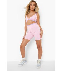 official gestreepte bralette en shorts set, pink