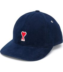 ami embroidered logo patch cap - blue