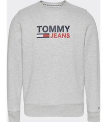 tommy hilfiger men's slim fit logo sweatshirt pale grey heather - xxl