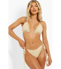 gehaakt bikini broekje met zijstrikjes, sand