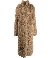 brunello cucinelli fluffy button-front coat - brown