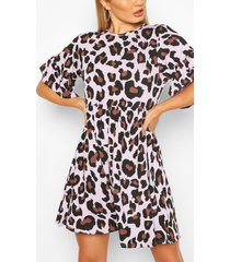 leopard print smock dress, lilac